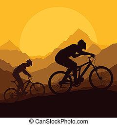 hegy bicikli, lovasok, alatt, vad, hegy, természet, vektor