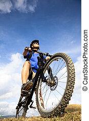 hegy biker, blue, ég, háttér