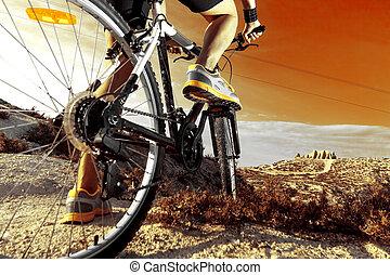 hegy, bike.sport, és, egészséges, élet
