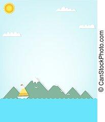 hegy., csónakázik, háttér
