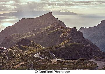 hegy., csavarás, philippine, feláll, kanyargás, haladó, közútak, islands.