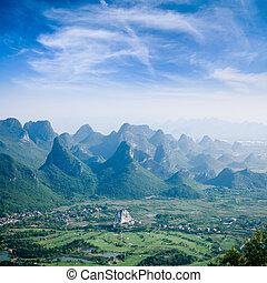 hegy, dombok, guilin, irtókapa, táj