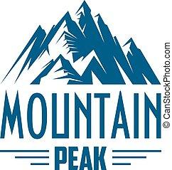 hegy, embléma, elszigetelt, vektor, csúcs, vagy, ikon