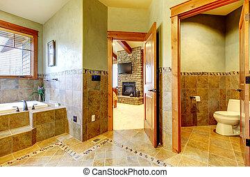 hegy, fürdőszoba, nagy, fiatalúr, fényűzés, home.
