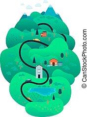 hegy, fa, vektor, út, út, vidéki parkosít