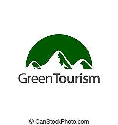 hegy, fogalom, jel, fél, tervezés, sablon, tourism., zöld, karika, ikon