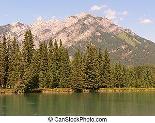 hegy, folyó, banff