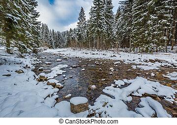 hegy folyik, alatt, tél, tatra, hegyek, lengyelország