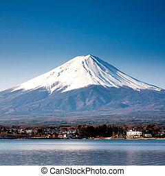 hegy fuji, kilátás, alapján, a, tó