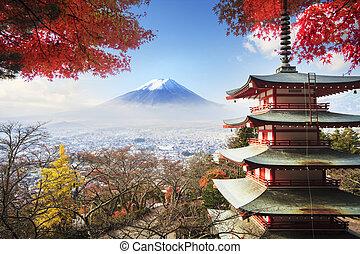 hegy. fuji, noha, ősz elpirul, alatt, japan.