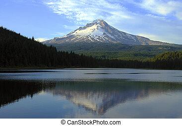 hegy gengszter, és, trillium tó, -ban, sunset.