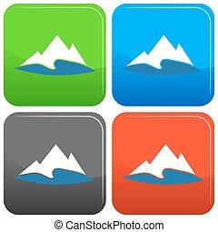 hegy, gombol, tó