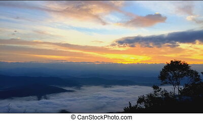 hegy, hé, timelapse, napkelte