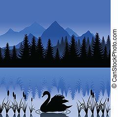 hegy, hattyú, ábra, lake., vektor, fekete