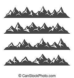 hegy, ikonok, állhatatos, white, háttér., vektor