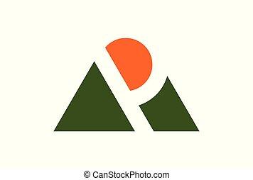 hegy, jel, nap, levél p