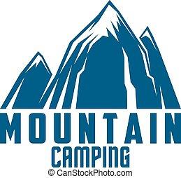 hegy, kempingezés, és, outdoor kaland, jelkép
