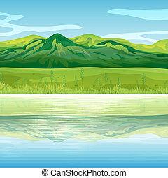 hegy, keresztül, tó