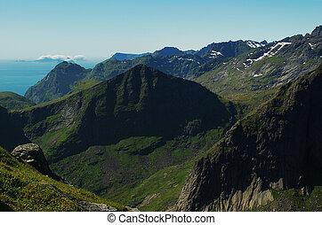 hegy látvány, képben látható, a, lofoten
