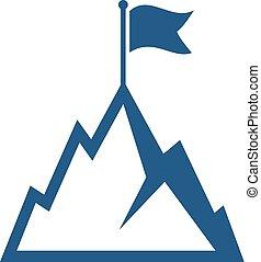 hegy, lobogó, vektor, ikon