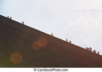 hegy mászik, csoport, emberek