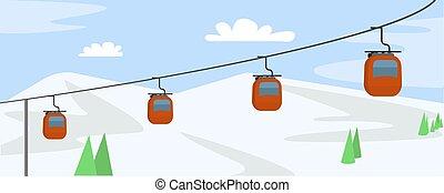 hegy, mód, fogalom, lakás, cabine, háttér, síel