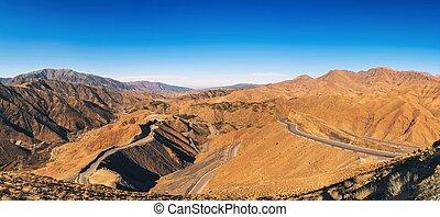 hegy, marokkó, át, út, hágó, atlas hegy