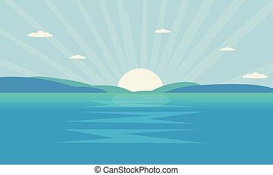 hegy, morning., nap, tenger, óceán, ábra, táj, shine., vektor, gyönyörű