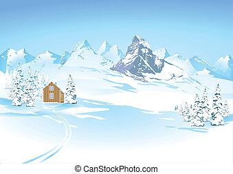 hegy, nézet, alatt, tél parkosít