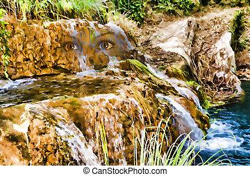 hegy, nimfa, -, tó, arc, vízesés, hatás, festmény