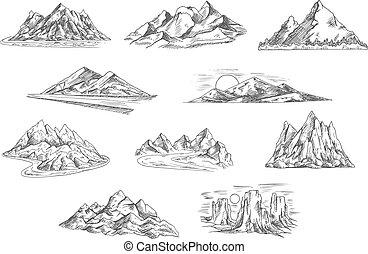 hegy, parkosít, skicc, helyett, természet, tervezés