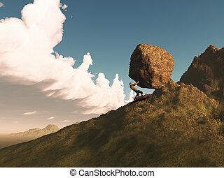 hegy, render, tol, kő, ember, 3