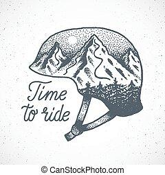 hegy, sisak, lovagol, elvont, vagy, dotwork, hódeszka, vektor, idő, húzott, kéz, síel, style., táj