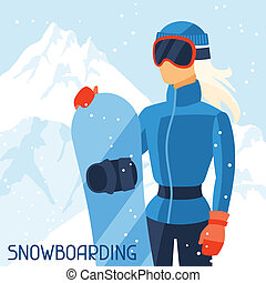 hegy, snowboarder, háttér., leány, táj, tél