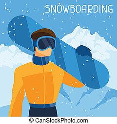 hegy, snowboarder, tél, háttér., táj, ember