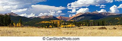 hegy, sziklás, körképszerű, bukás, táj, colorado
