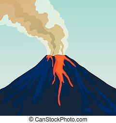 hegy, természetes, eruption., kráter, smoke., csípős, vulkán...