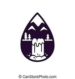hegy, vízesés, jel