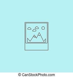 hegy, vektor, ábra, ikon