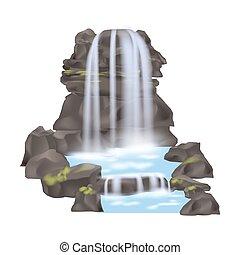 hegy, vektor, elszigetelt, vízesés, ikon
