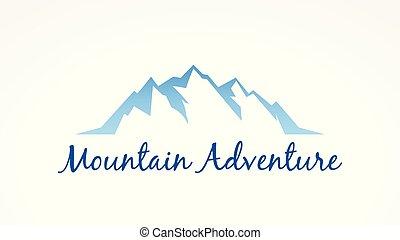 hegy, vektor, idegenforgalom, táj, jel