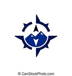 hegy, vektor, sablon, iránytű, jel, ikon