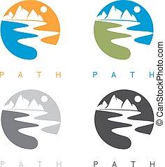 hegyek, állhatatos, elvont, elnevezés, ábra, vektor, folyó