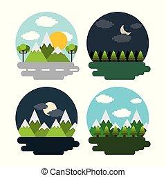 hegyek, állhatatos, erdő, éjszaka, nap, táj