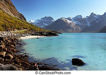 hegyek, és, fjord, alatt, norvégia, -, lofoten