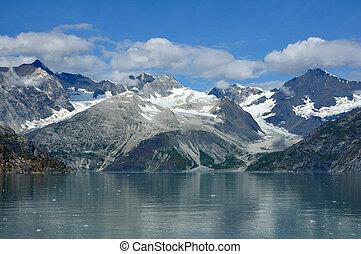 hegyek, és, gleccser, gleccser öböl