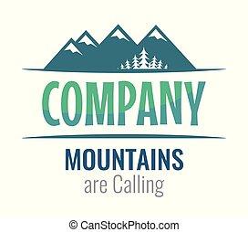 hegyek, észrevehető, -, hívás, vektor, jel, társaság, utazás