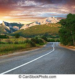 hegyek, öreg, napnyugta, ellen, autóút