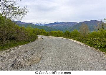 hegyek, út