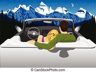 hegyek, ülés, autó, párosít, éjszaka ég, ölelgetés, látszó, alatt, átváltható, fehér